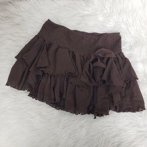 Victorias Secret Cocoa Brown Ruffled Mini Skirt